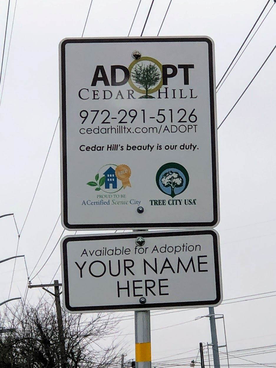 Adopt Cedar Hill Full Sign