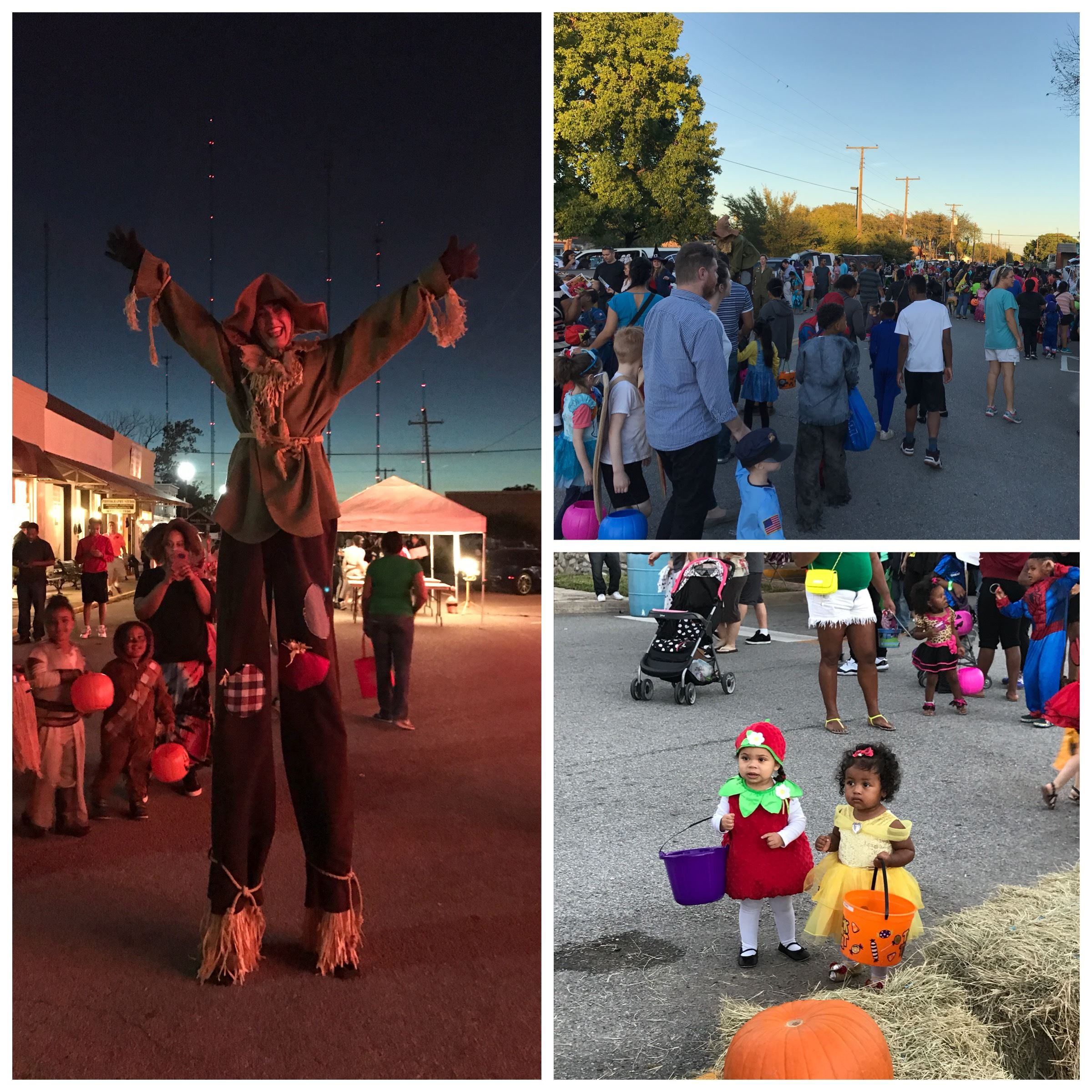 Scarecrow on Stilts, People Walking, and Two Toddlers in Costume