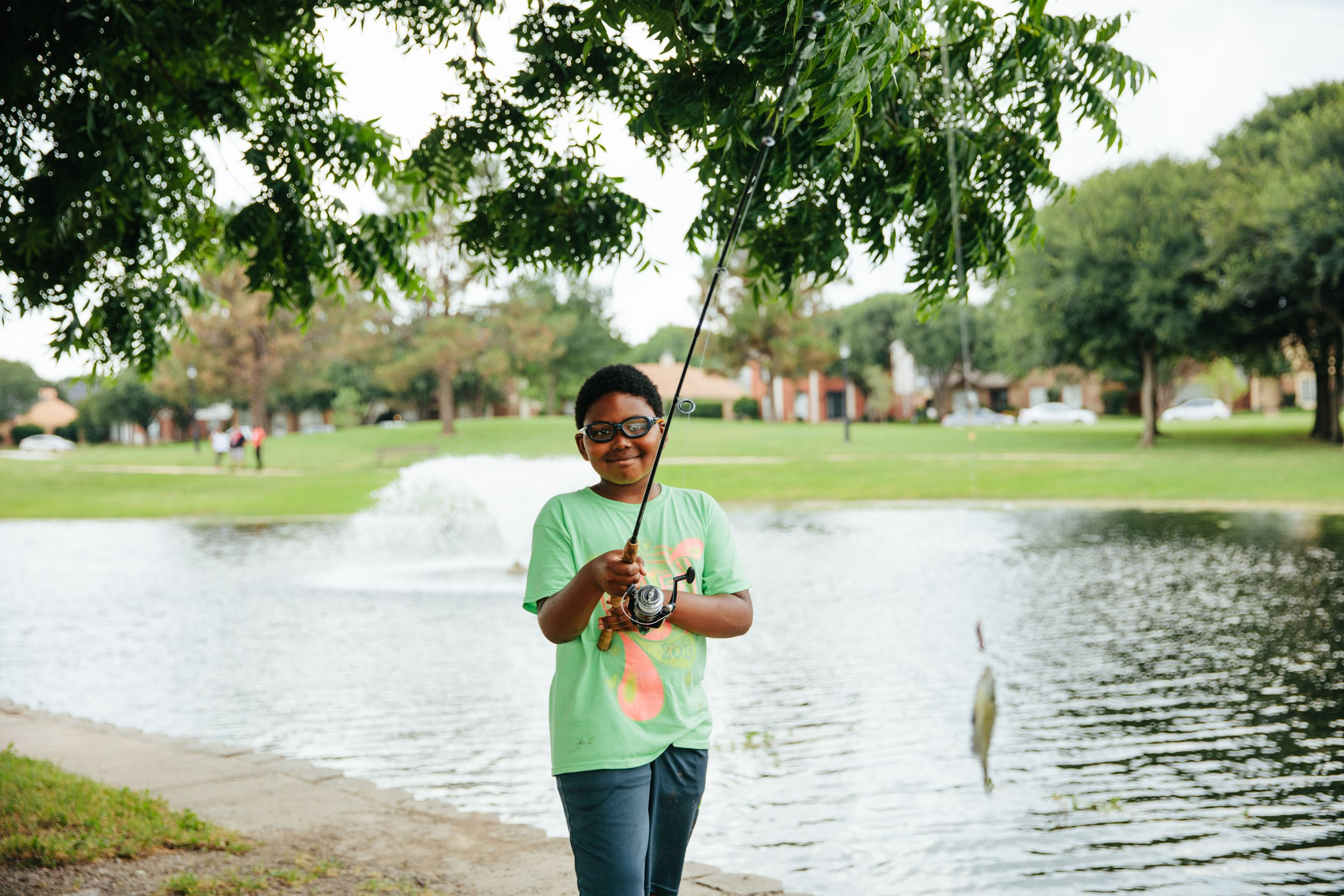 Fishing at Bradford Park Pond