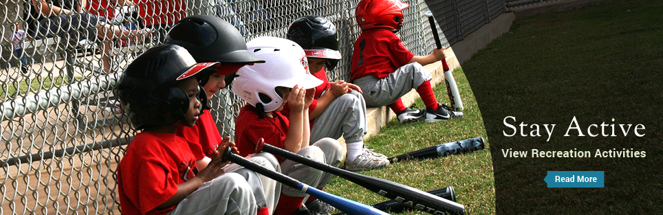Kids playing baseball - Stay Active - View Recreation Activites - Read More